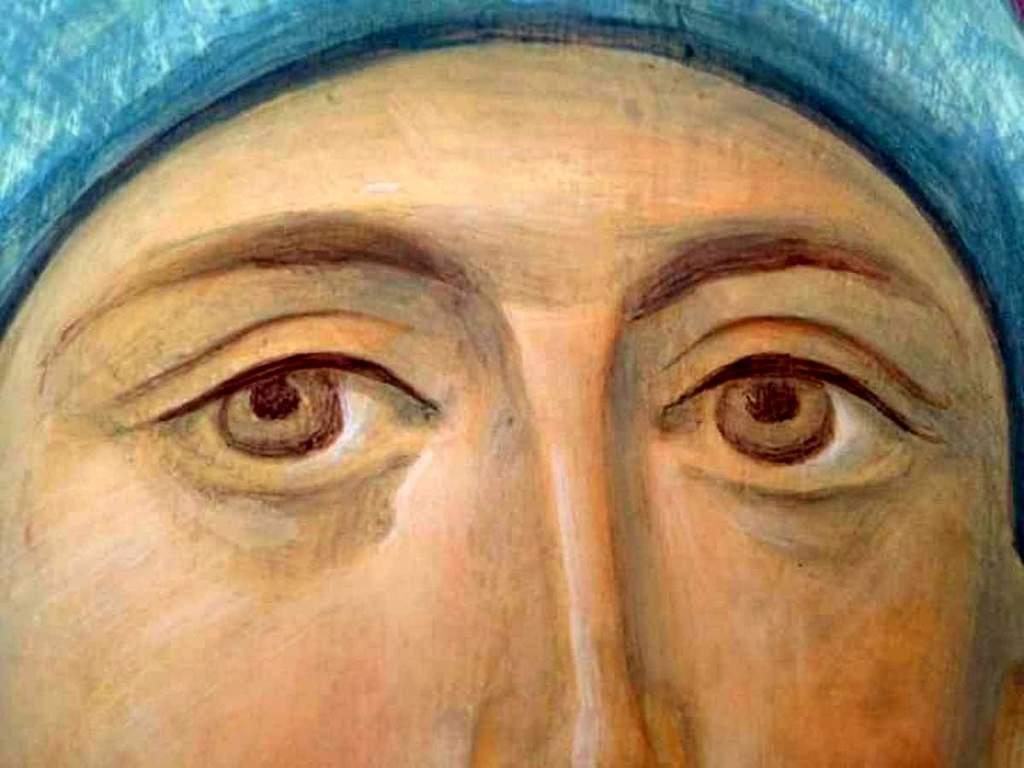 Пресвятая Богородица с Младенцем. Фреска в процессе создания. Фрагмент.