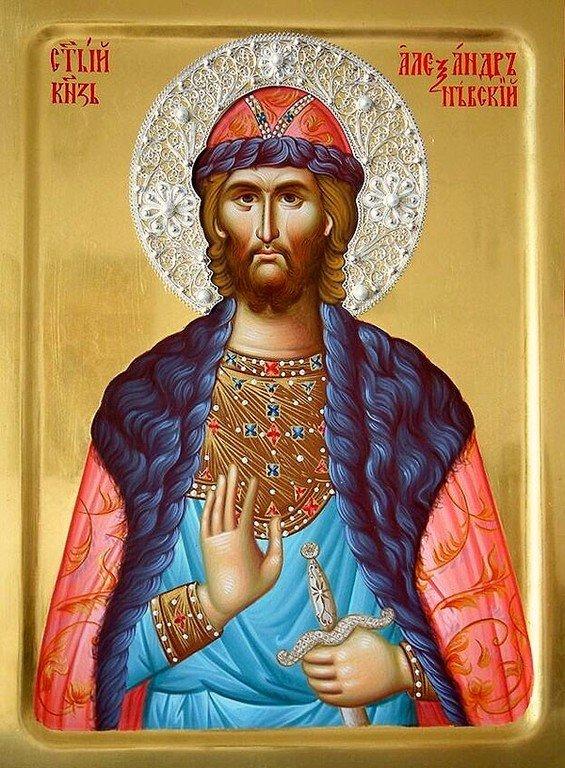 Святой Благоверный Великий Князь Александр Невский. Икона написана в монастыре Жича (Сербия) в 2015 году.