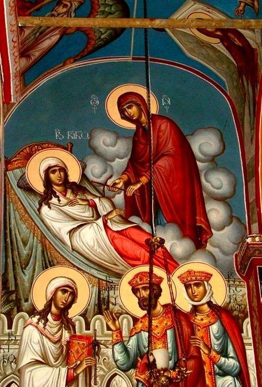 Пресвятая Богородица вручает Святой Нине Крест из виноградной лозы. Проповедь Святой Нины царю Мириану и царице Нане.