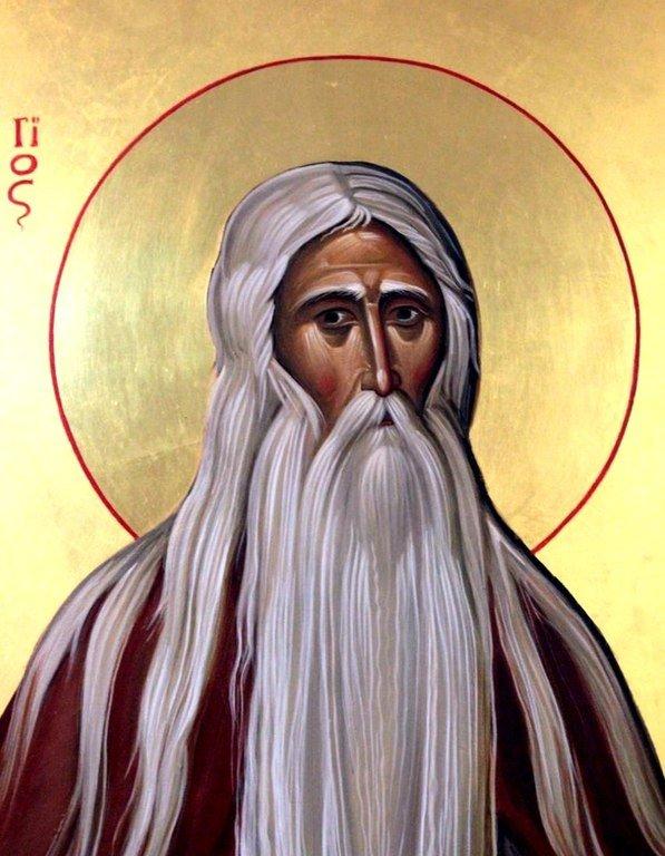Святой Преподобный Макарий Великий, Египетский. Современная икона. Фрагмент.
