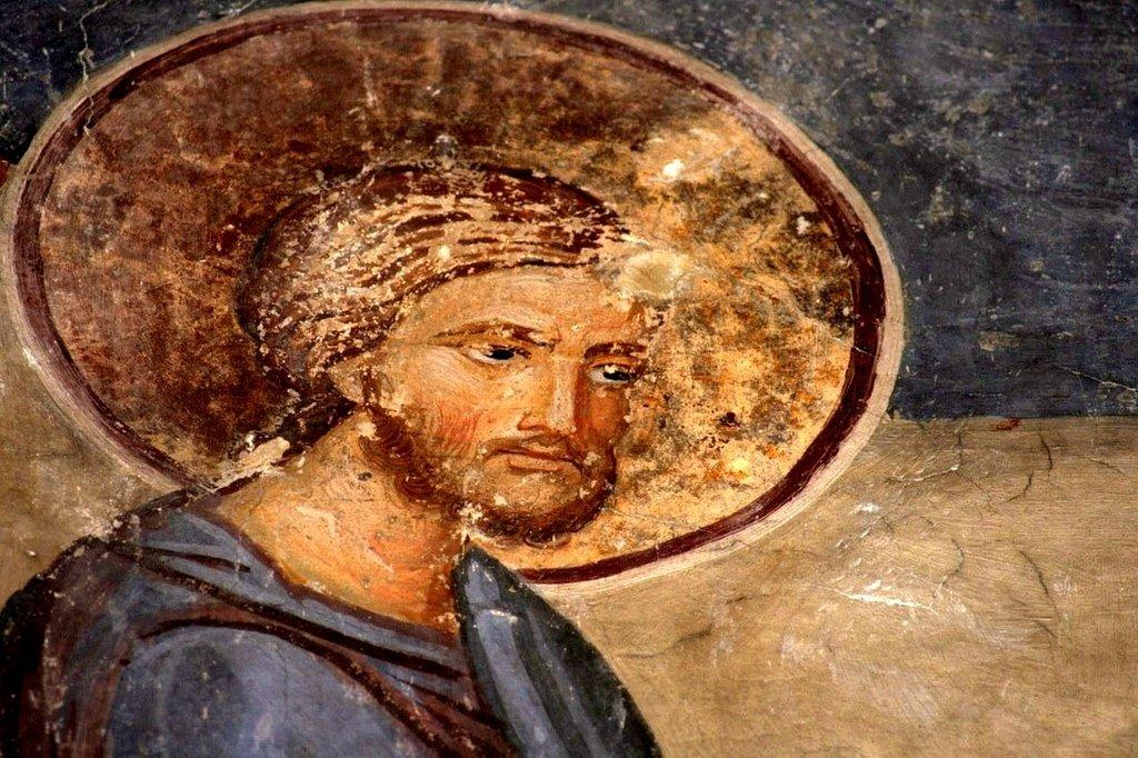 Христос исцеляет слепорождённого. Фреска церкви Вознесения Господня в монастыре Раваница, Сербия. Около 1389 года. Фрагмент.