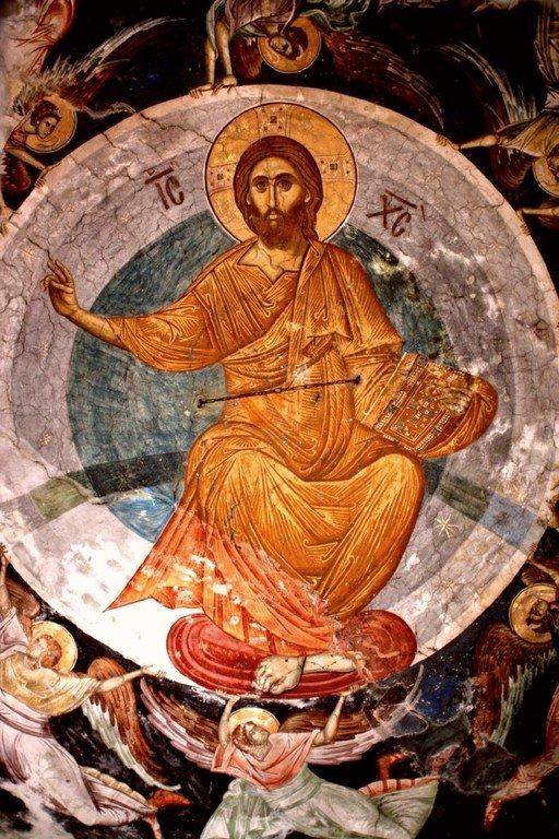 Вознесение Господне. Фреска купола церкви Святого Димитрия в Пече, Косово, Сербия. XIV век.