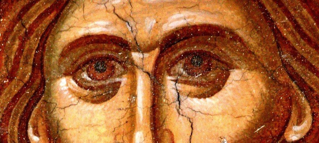 Вознесение Господне. Фреска купола церкви Святого Димитрия в Пече, Косово, Сербия. XIV век. Фрагмент.
