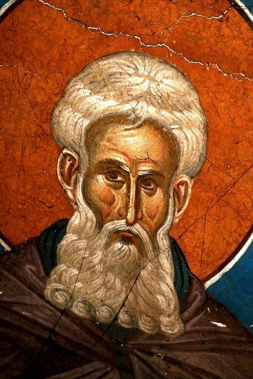 Святой Преподобный Арсений Великий (?). Фреска монастыря Высокие Дечаны, Косово, Сербия. Около 1350 года.