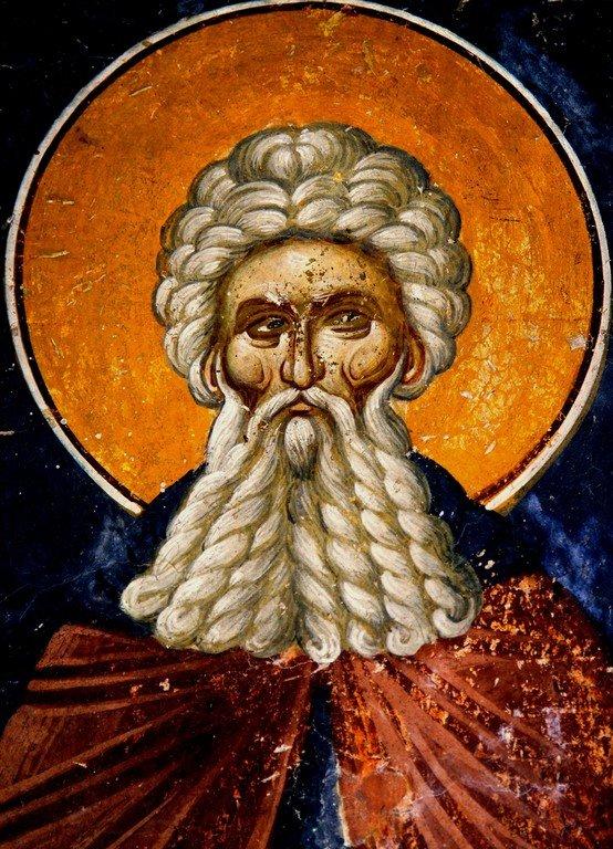 Святой Преподобный Арсений Великий. Фреска церкви Спаса в Кучевиште, Македония. XIV век.