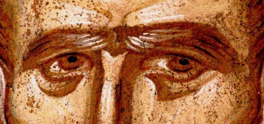 Святитель Николай, Архиепископ Мир Ликийских, Чудотворец. Фреска монастыря Высокие Дечаны, Косово, Сербия. Около 1350 года. Фрагмент.