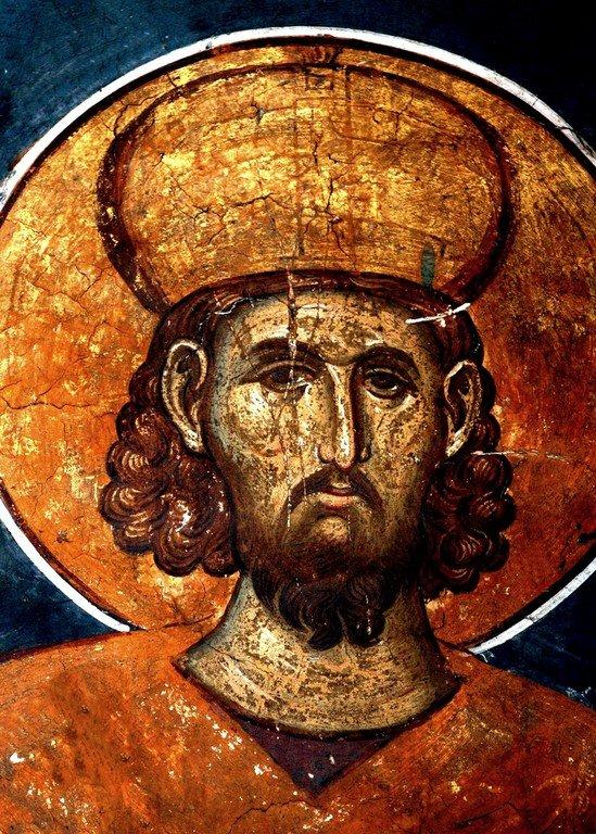 Святой Равноапостольный Царь Константин. Фреска монастыря Высокие Дечаны, Косово, Сербия. Около 1350 года.