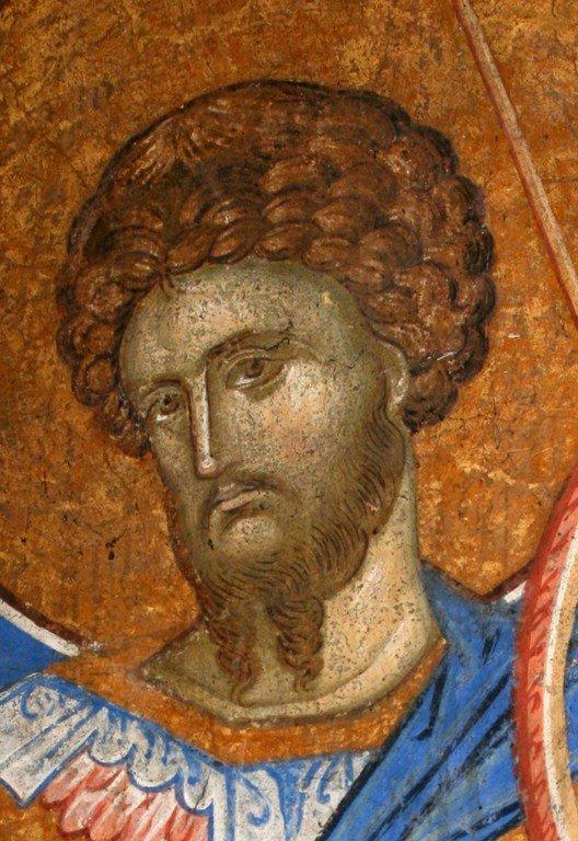 Святой Великомученик Феодор Стратилат. Фреска монастыря Высокие Дечаны, Косово, Сербия. Около 1350 года.