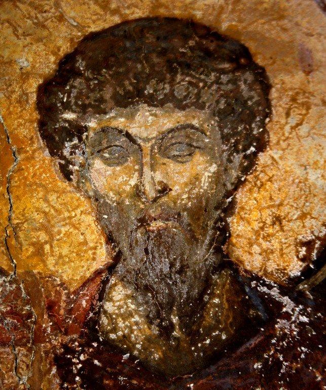 Святой Великомученик Феодор Стратилат. Фреска церкви Святого Николая Больничного в Охриде, Македония. 1330 - 1340 годы.
