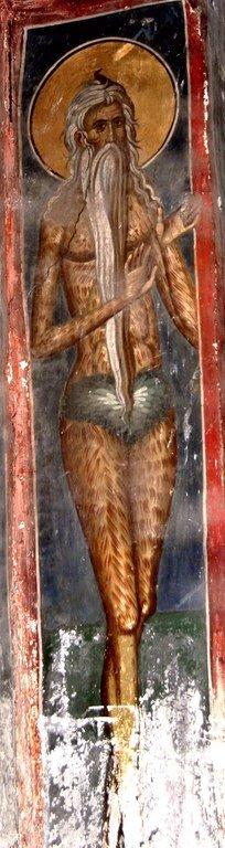 Святой Преподобный Онуфрий Великий. Фреска монастыря Печская Патриархия, Косово, Сербия. XIV век.