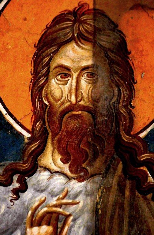 Святой Иоанн Предтеча. Фреска церкви Богоматери Одигитрии в Пече, Косово, Сербия. XIV век.