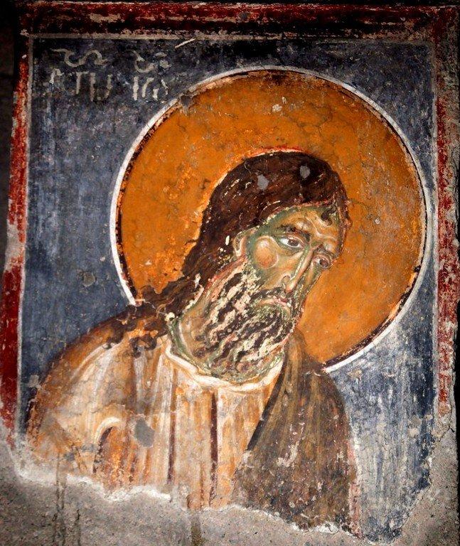 Святой Иоанн Предтеча. Фреска церкви Святого Николая в монастыре Студеница, Сербия. 1230-е годы.