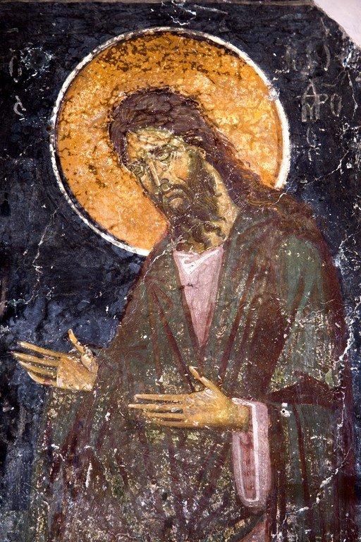 Святой Иоанн Предтеча. Фреска церкви Святого Николая Больничного в Охриде, Македония. 1330 - 1340 годы.