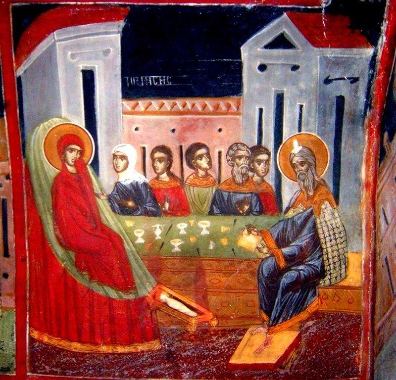 Рождество Святого Иоанна Предтечи. Фреска. Арбанаси, Болгария.