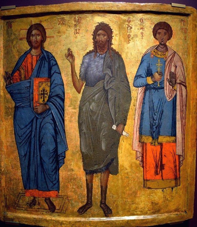 Господь Иисус Христос и Святые Иоанн Предтеча и Георгий Победоносец. Болгарская икона.