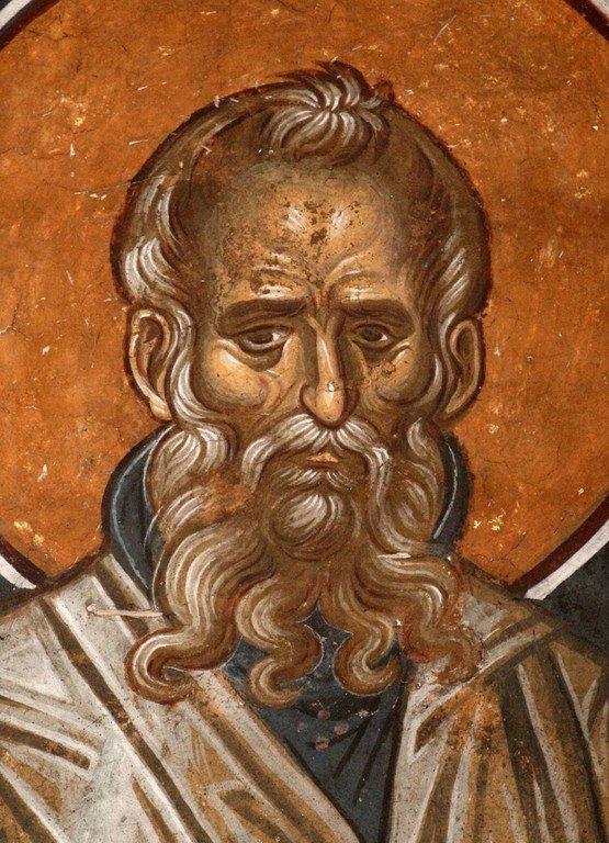 Святой Преподобный Афанасий Афонский. Фреска монастыря Высокие Дечаны, Косово, Сербия. Около 1350 года.