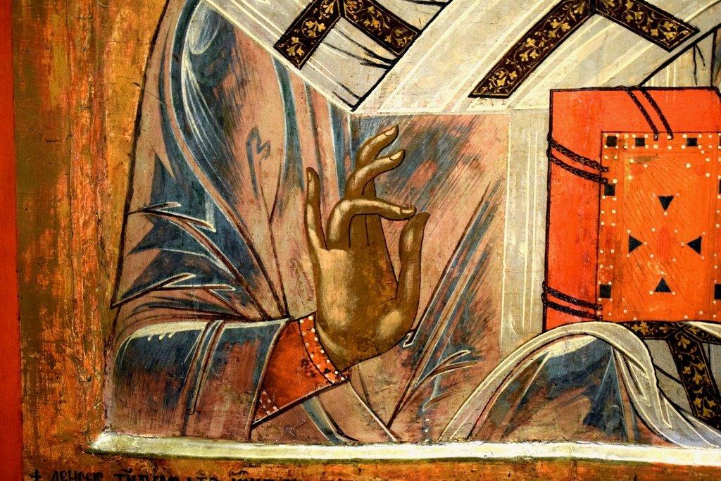 Святитель Николай, Архиепископ Мир Ликийских, Чудотворец. Болгарская икона. Фрагмент.