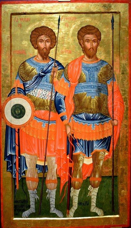 Святые Великомученики Феодор Стратилат и Феодор Тирон. Болгарская икона.