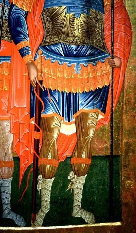 Святые Великомученики Феодор Стратилат и Феодор Тирон. Болгарская икона. Фрагмент.