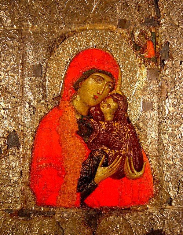 Святая Праведная Анна, матерь Пресвятой Богородицы, с Младенцем Марией. Сербская икона XIV века. Из Троице-Сергиевой Лавры.