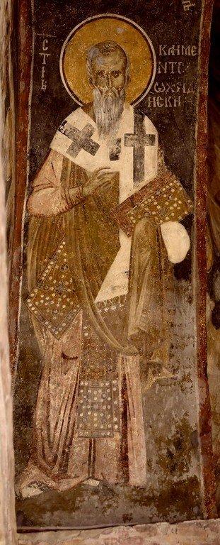 Святой Равноапостольный Климент, Епископ Охридский. Фреска Белой церкви в селе Каран, Сербия. 1340 - 1342 годы.