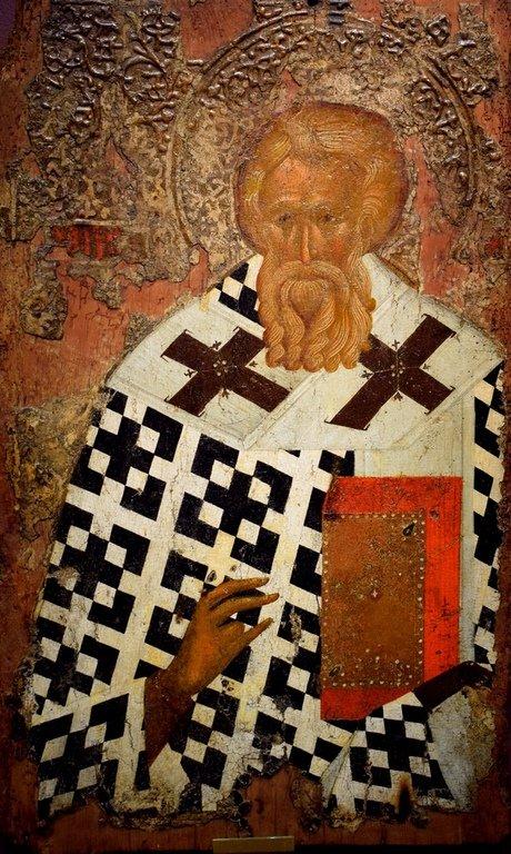 Святитель (Мефодий, Патриарх Константинопольский ?). Болгарская икона XIV века.