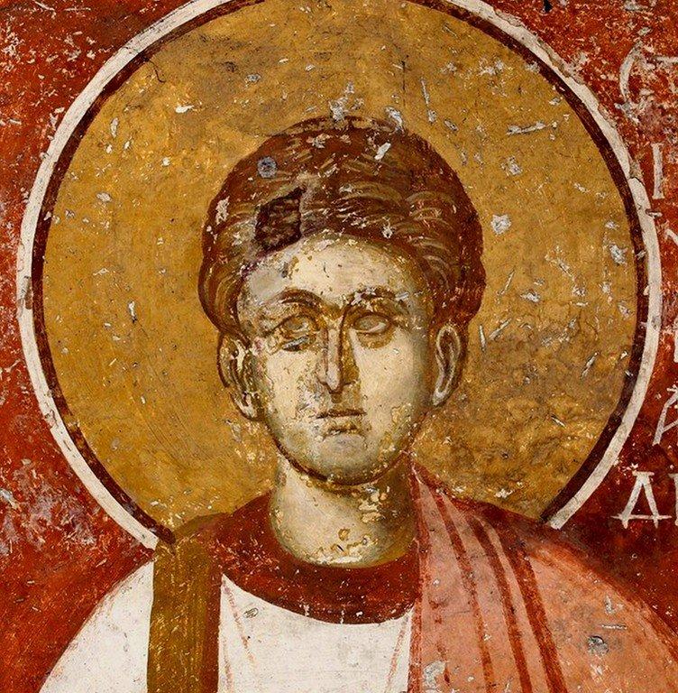 Святой Первомученик Архидиакон Стефан. Фреска Белой церкви в селе Каран, Сербия. 1340 - 1342 годы.