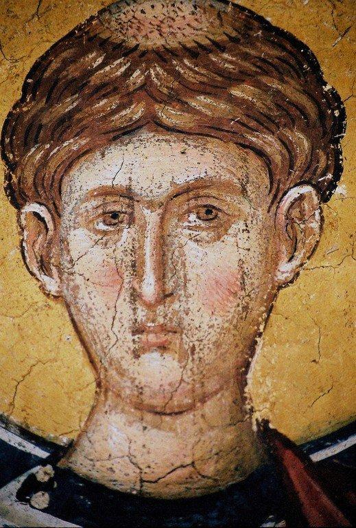 Святой Первомученик Архидиакон Стефан. Фреска монастыря Высокие Дечаны, Косово, Сербия. Около 1350 года.