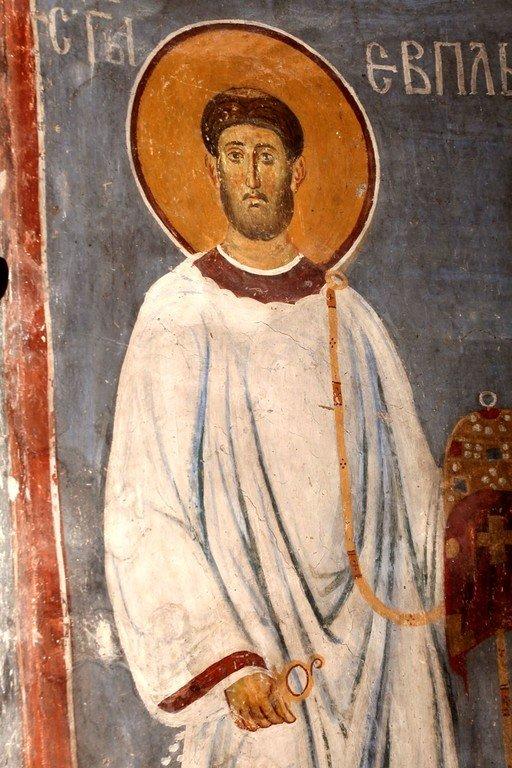 Святой Мученик Евпл, Архидиакон Катанский. Фреска церкви Богородицы в монастыре Студеница, Сербия. 1208 - 1209 годы.
