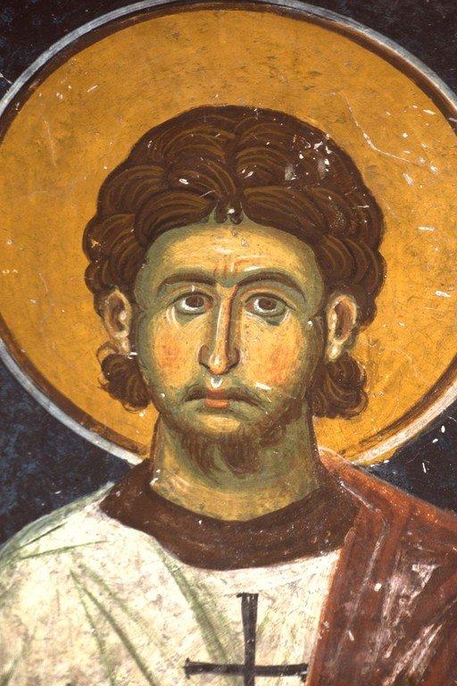 Святой Мученик Евпл, Архидиакон Катанский. Фреска церкви Святого Николая в Прилепе, Македония. 1298 - 1299 годы.