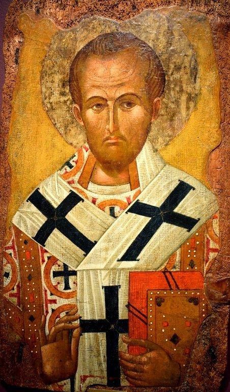 Святитель Иоанн Златоуст, Архиепископ Константинопольский. Болгарская икона XV века.