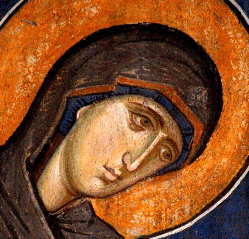 Лик Пресвятой Богородицы. Фреска монастыря Высокие Дечаны, Косово, Сербия. Около 1350 года.