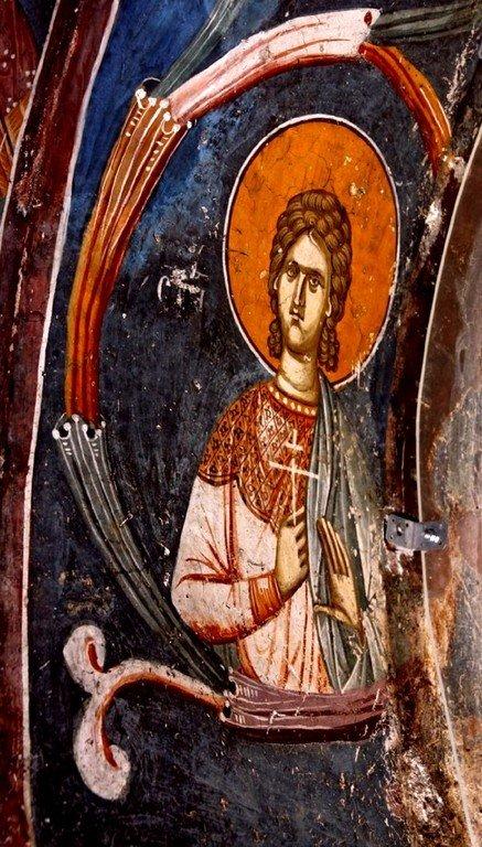 Святой Мученик Феопист, сын Святого Евстафия Плакиды. Фреска нартекса (притвора) монастыря Печская Патриархия, Косово, Сербия. XIV век.