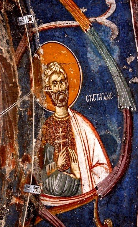 Святой Великомученик Евстафий Плакида. Фреска нартекса (притвора) монастыря Печская Патриархия, Косово, Сербия. XIV век.