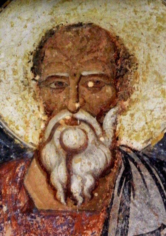 Святой Апостол и Евангелист Иоанн Богослов. Фреска монастыря Святого Иоанна Богослова в Поганово, Сербия. Конец XV века.