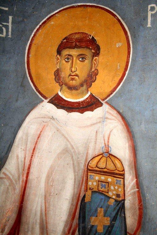 Святой Преподобный Роман Сладкопевец. Фреска церкви Богородицы в монастыре Студеница, Сербия. 1208 - 1209 годы.