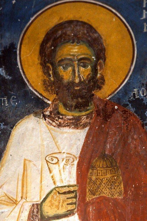 Святой Преподобный Роман Сладкопевец. Фреска церкви Святого Николая в Прилепе, Македония. 1298 год.