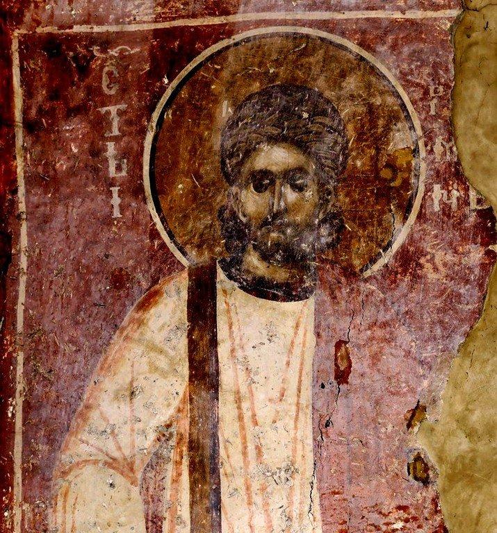 Святой Преподобный Роман Сладкопевец. Фреска Белой церкви в селе Каран, Сербия. 1340 - 1342 годы.
