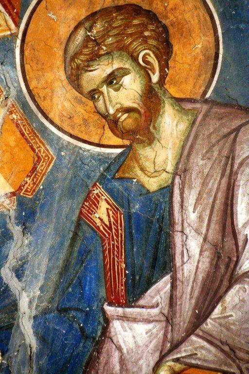 Святой Апостол и Евангелист Лука. Фреска церкви Святого Димитрия в монастыре Печская Патриархия, Косово, Сербия. XIV век.