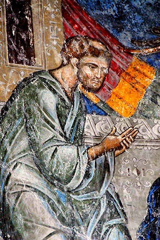 """Святой Апостол и Евангелист Лука. Фрагмент фрески """"Причащение Апостолов"""". Церковь Святой Троицы в монастыре Манасия (Ресава), Сербия. До 1418 года."""