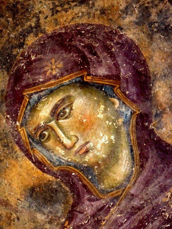 Лик Пресвятой Богородицы. Фреска церкви Святой Троицы в монастыре Сопочаны, Сербия. XIII век.