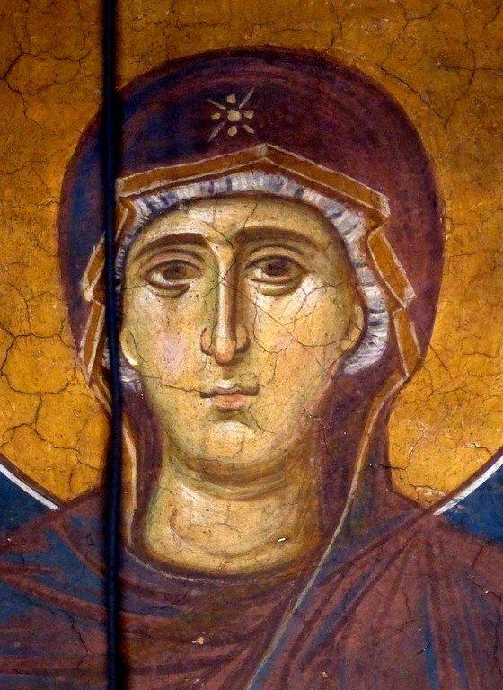 Богоматерь Оранта. Фреска монастыря Высокие Дечаны, Косово, Сербия. Около 1350 года. Фрагмент.