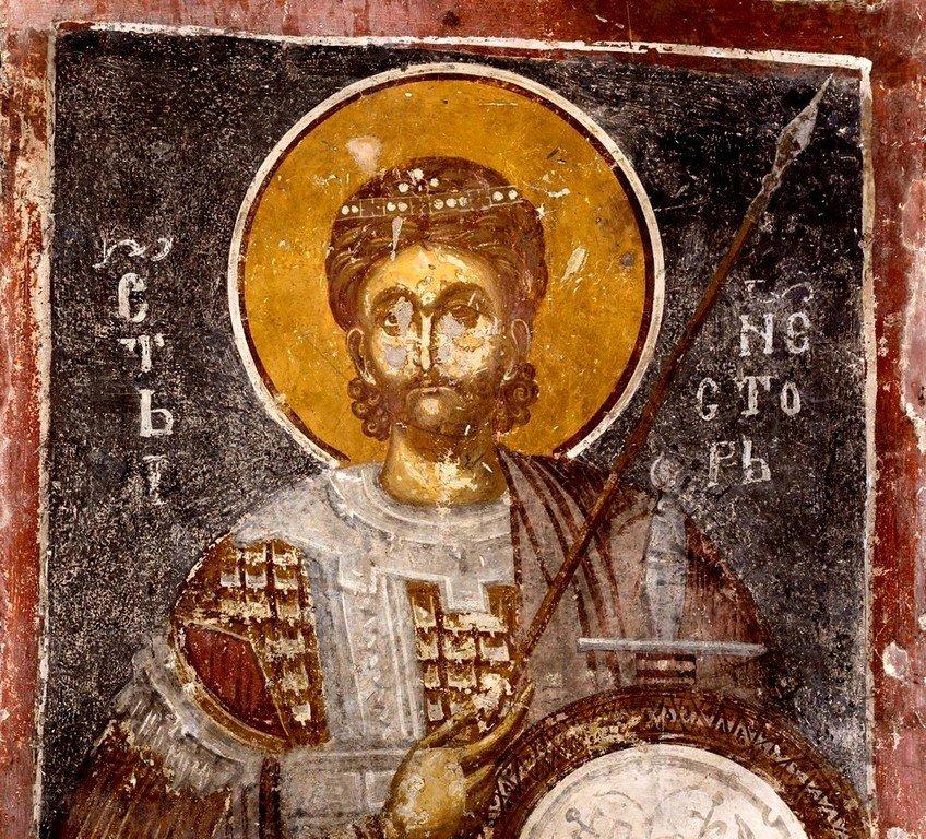 Святой Мученик Нестор Солунский. Фреска Белой церкви в селе Каран, Сербия. 1340 - 1342 годы.