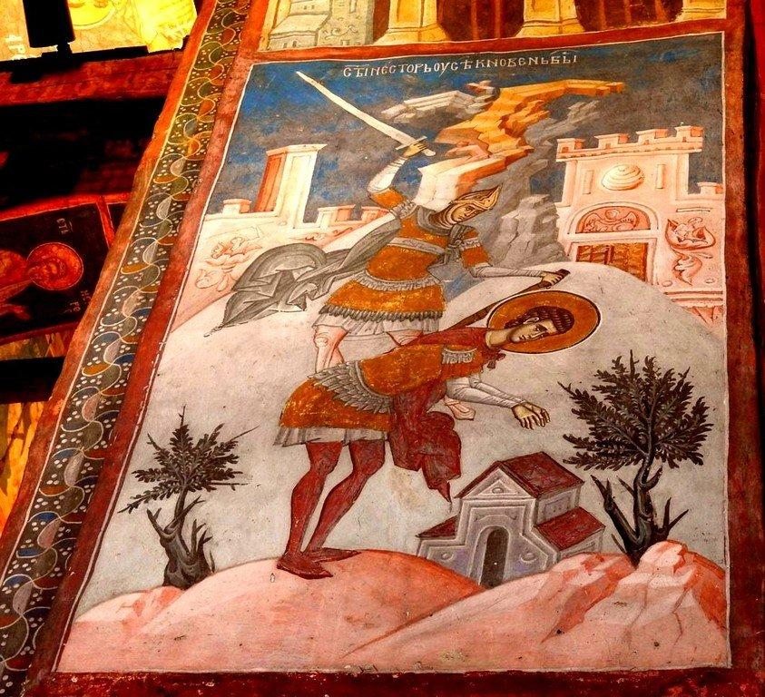 Мученичество Святого Нестора Солунского. Фреска монастыря Высокие Дечаны, Косово, Сербия. Около 1350 года.