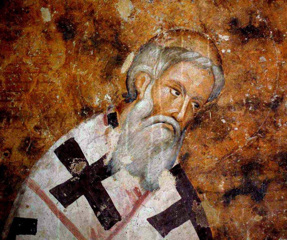 Святитель Арсений Сремец, Архиепископ Сербский. Фреска церкви Святой Троицы в монастыре Сопочаны, Сербия. XIII век.