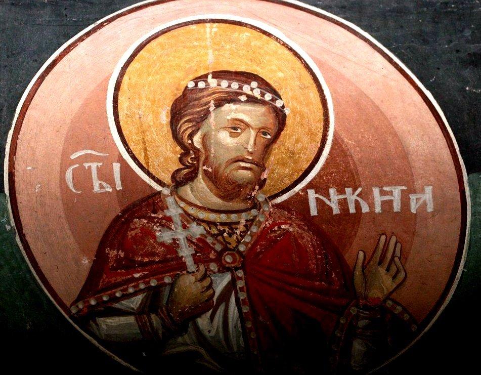 Святой Великомученик Никита Готфский. Фреска монастыря Святого Иоанна Богослова в Поганово, Сербия. Конец XV века.