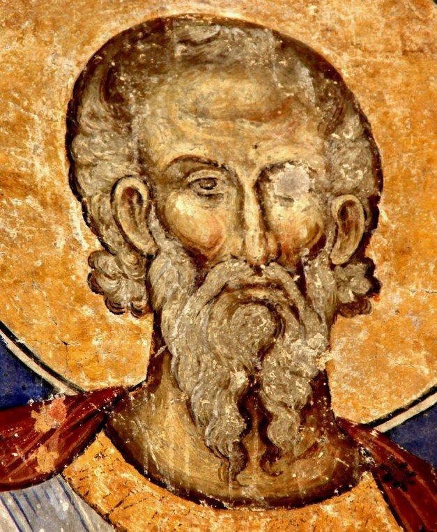 Святой Мученик Арефа Негранский. Фреска церкви Святой Троицы в монастыре Манасия (Ресава), Сербия. До 1418 года.