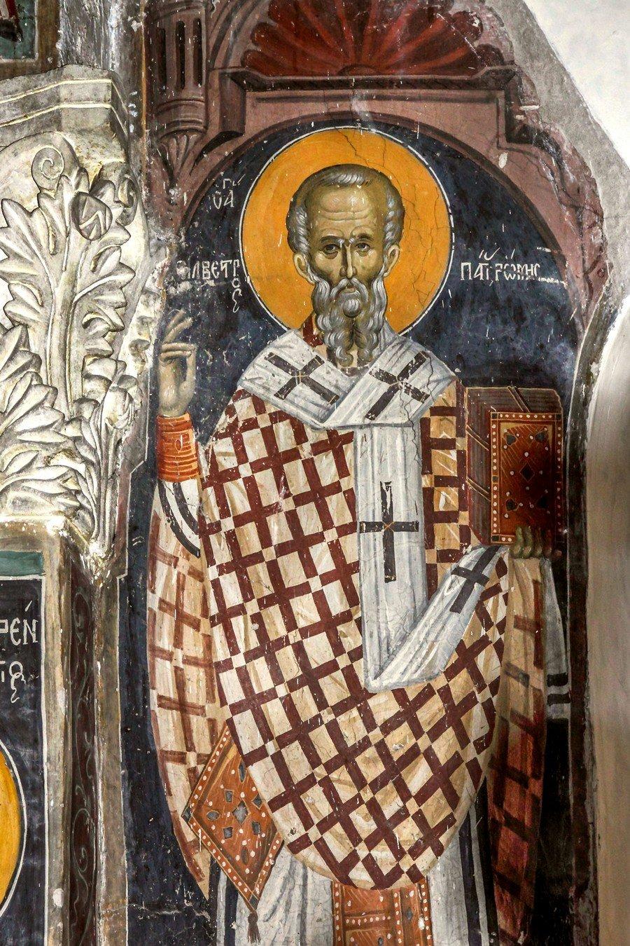 Святитель Сильвестр, Папа Римский. Фреска монастыря Святого Неофита Затворника на Кипре. 1503 год.