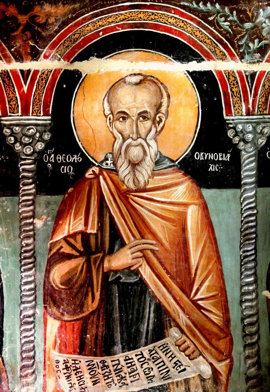 Святой Преподобный Феодосий Великий, общих житий начальник. Фреска церкви Архангела Михаила и Божией Матери в Галате на Кипре. 1514 год.