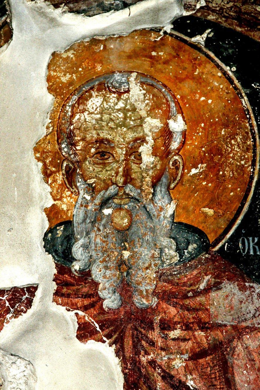 Святой Преподобный Феодосий Великий, общих житий начальник. Фреска церкви Святого Феодосия в Ахелии на Кипре.
